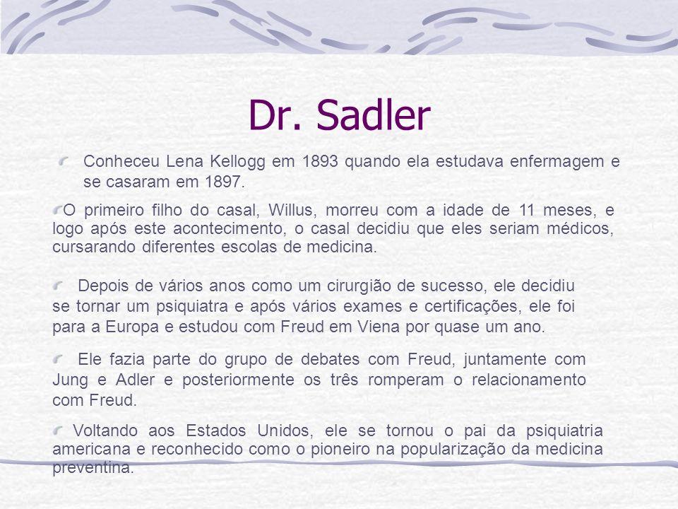 Dr. Sadler Conheceu Lena Kellogg em 1893 quando ela estudava enfermagem e se casaram em 1897. Voltando aos Estados Unidos, ele se tornou o pai da psiq