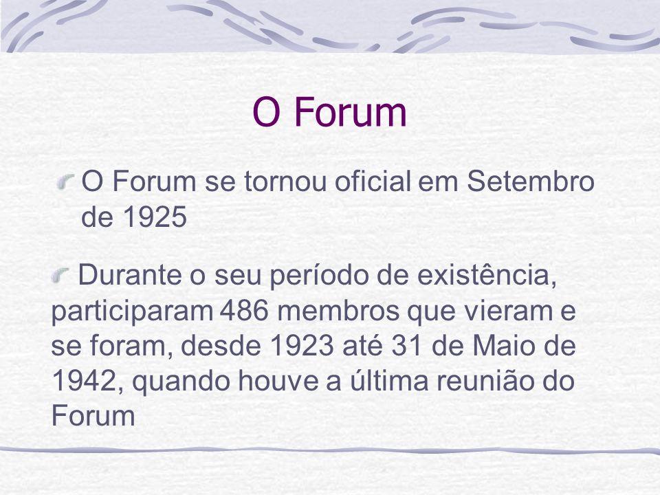 O Forum O Forum se tornou oficial em Setembro de 1925 Durante o seu período de existência, participaram 486 membros que vieram e se foram, desde 1923