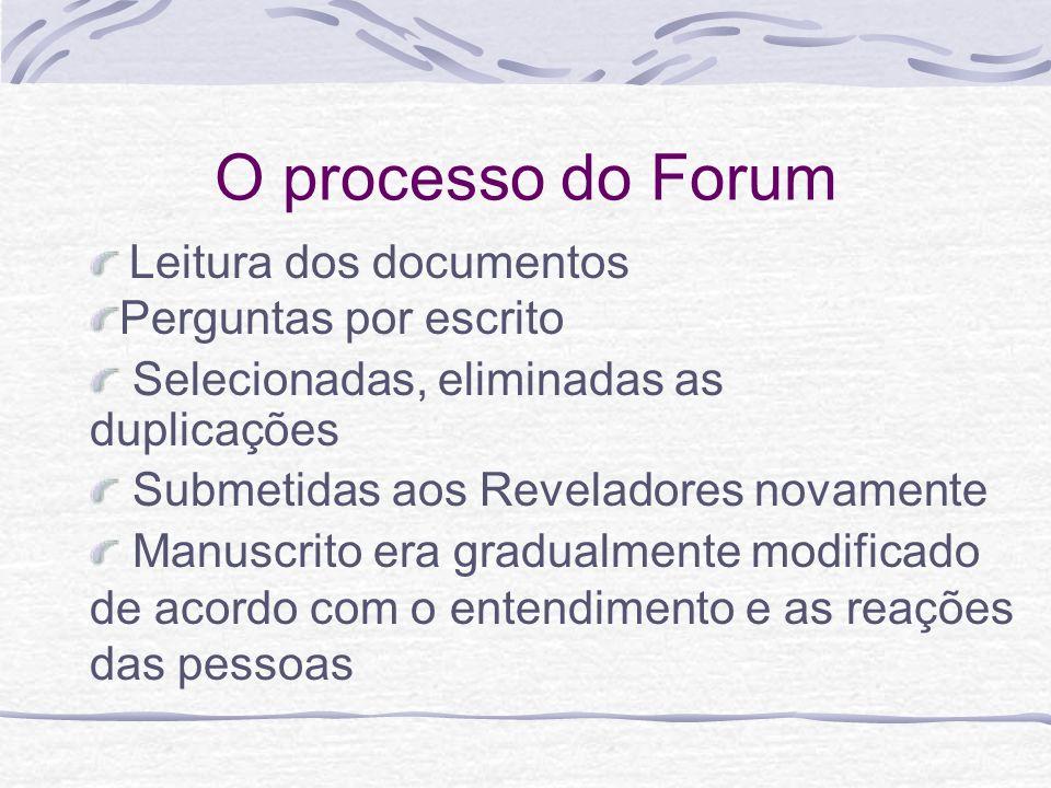 O processo do Forum Leitura dos documentos Manuscrito era gradualmente modificado de acordo com o entendimento e as reações das pessoas Submetidas aos
