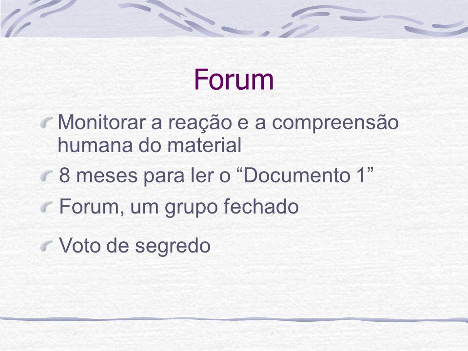 Forum Monitorar a reação e a compreensão humana do material Voto de segredo Forum, um grupo fechado 8 meses para ler o Documento 1