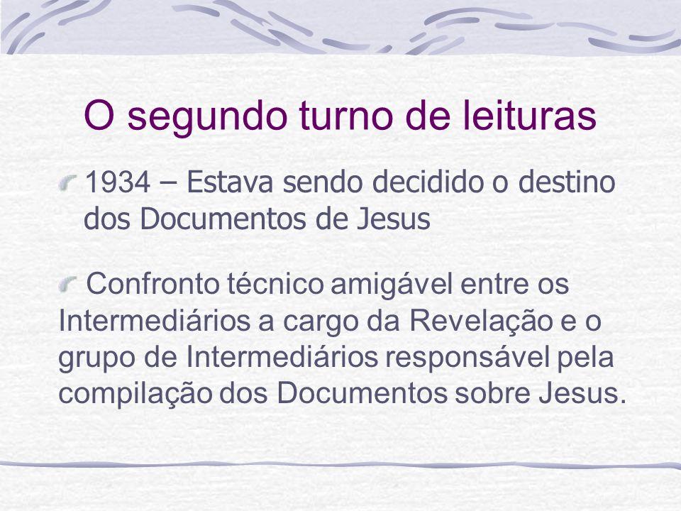 O segundo turno de leituras 1934 – Estava sendo decidido o destino dos Documentos de Jesus Confronto técnico amigável entre os Intermediários a cargo