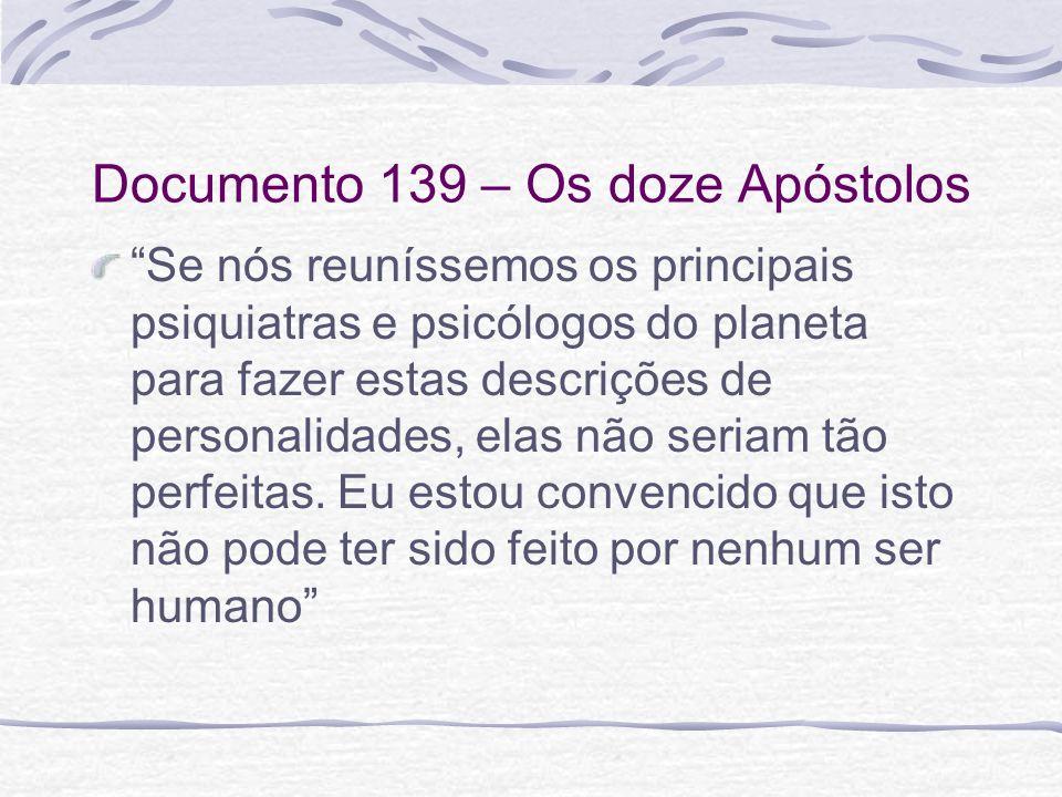 Documento 139 – Os doze Apóstolos Se nós reuníssemos os principais psiquiatras e psicólogos do planeta para fazer estas descrições de personalidades,