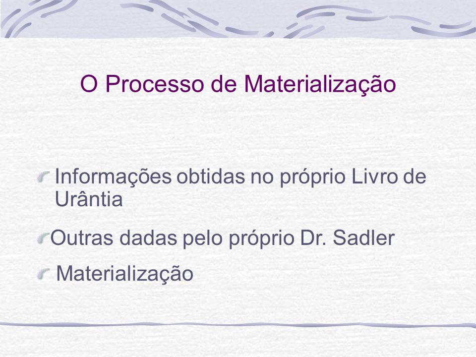 O Processo de Materialização Informações obtidas no próprio Livro de Urântia Materialização Outras dadas pelo próprio Dr. Sadler