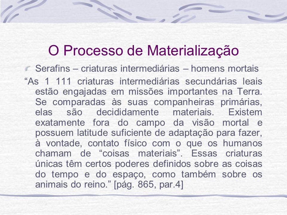 O Processo de Materialização Serafins – criaturas intermediárias – homens mortais As 1 111 criaturas intermediárias secundárias leais estão engajadas