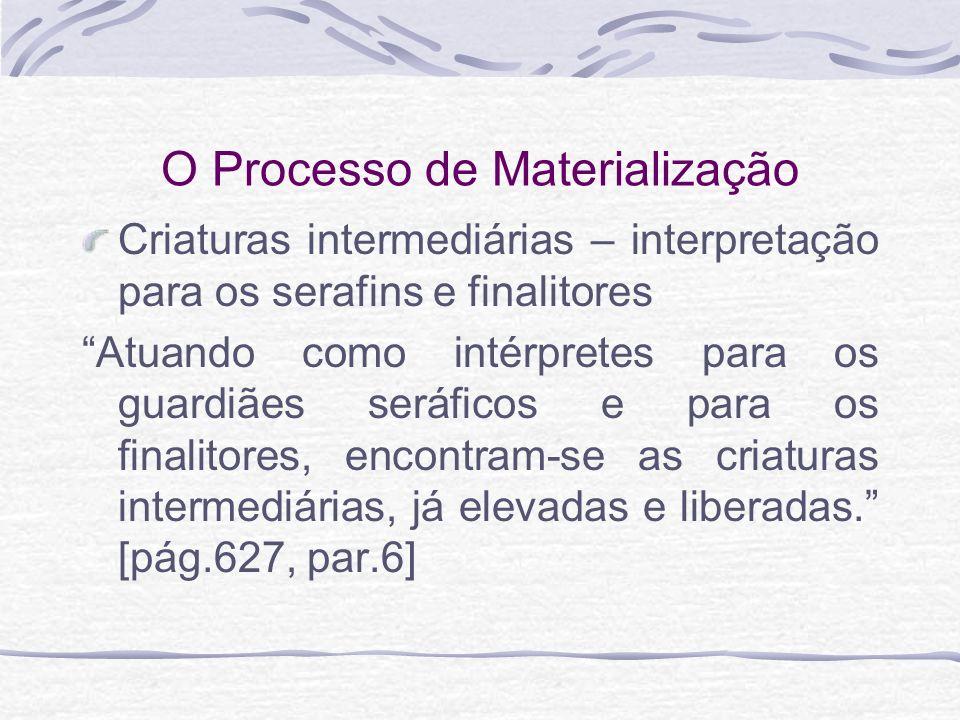 O Processo de Materialização Criaturas intermediárias – interpretação para os serafins e finalitores Atuando como intérpretes para os guardiães seráfi