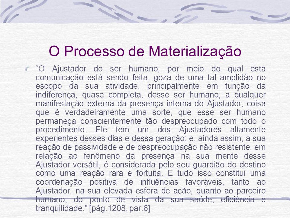 O Processo de Materialização O Ajustador do ser humano, por meio do qual esta comunicação está sendo feita, goza de uma tal amplidão no escopo da sua