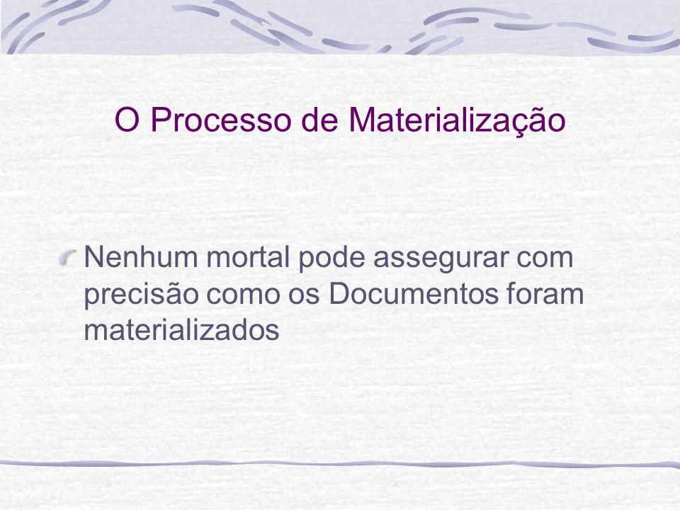 O Processo de Materialização Nenhum mortal pode assegurar com precisão como os Documentos foram materializados