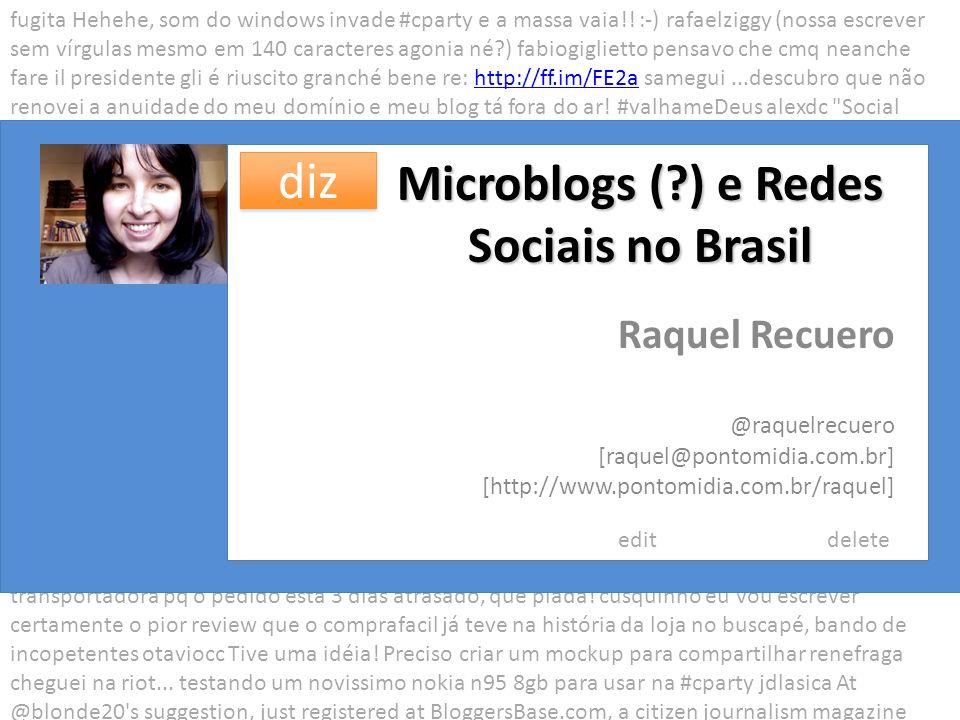 Microblogs (?) e Redes Sociais no Brasil Raquel Recuero [raquel@pontomidia.com.br] [http://www.pontomidia.com.br/raquel] fugita Hehehe, som do windows