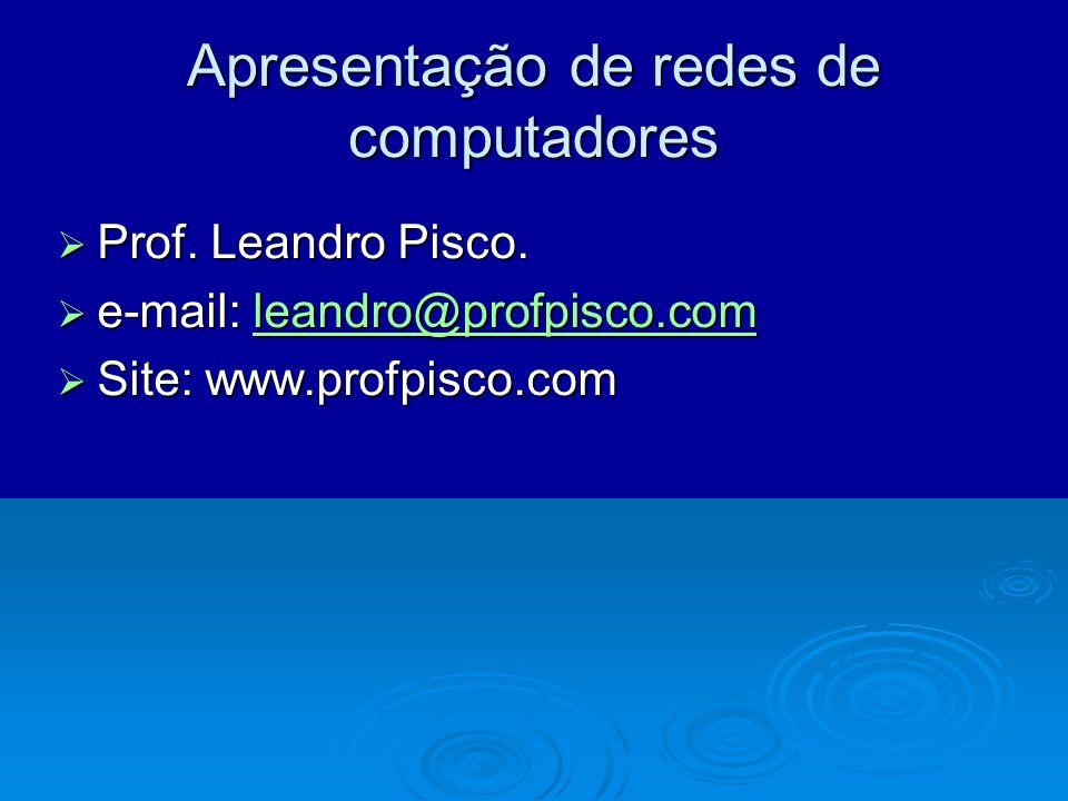 Apresentação de redes de computadores Prof. Leandro Pisco. Prof. Leandro Pisco. e-mail: leandro@profpisco.com e-mail: leandro@profpisco.comleandro@pro