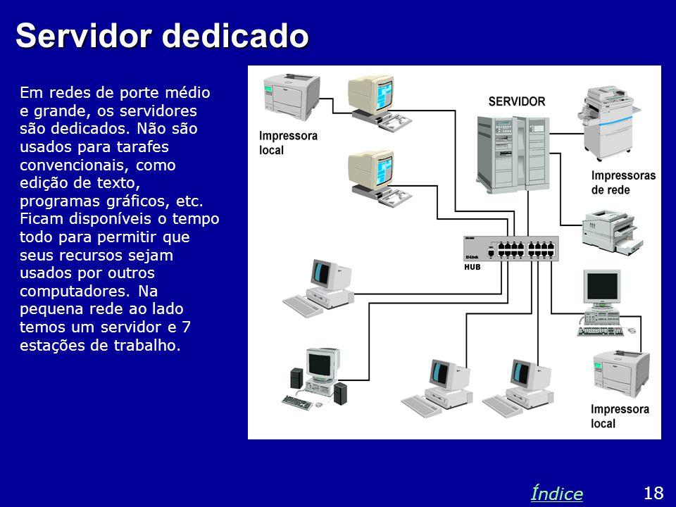Servidor dedicado Em redes de porte médio e grande, os servidores são dedicados. Não são usados para tarafes convencionais, como edição de texto, prog
