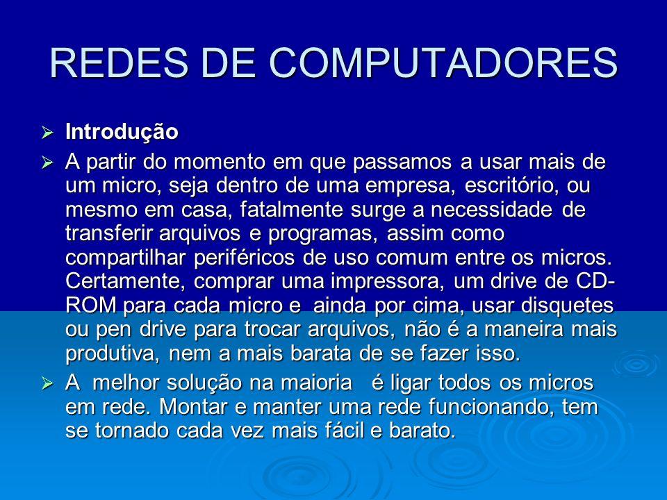 REDES DE COMPUTADORES Introdução Introdução A partir do momento em que passamos a usar mais de um micro, seja dentro de uma empresa, escritório, ou me