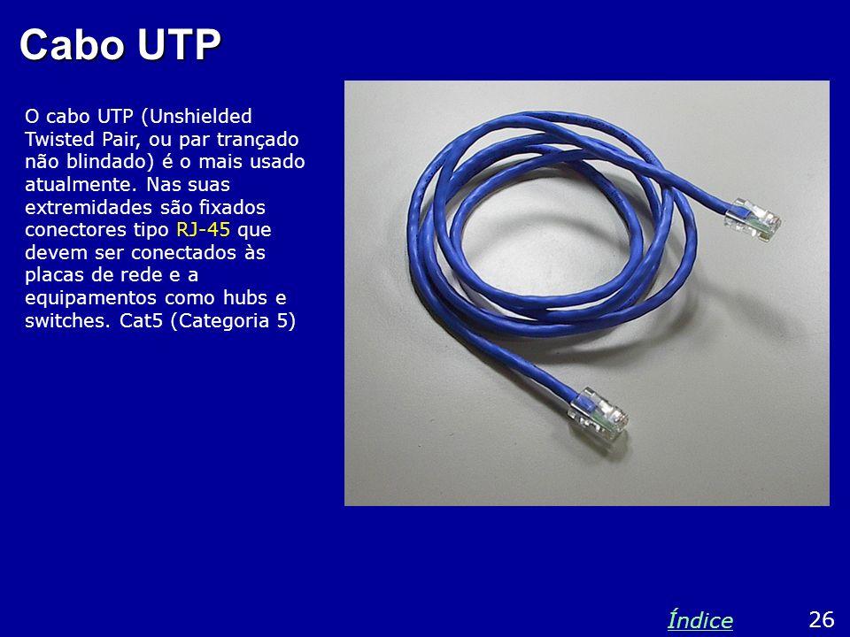 Cabo UTP O cabo UTP (Unshielded Twisted Pair, ou par trançado não blindado) é o mais usado atualmente. Nas suas extremidades são fixados conectores ti