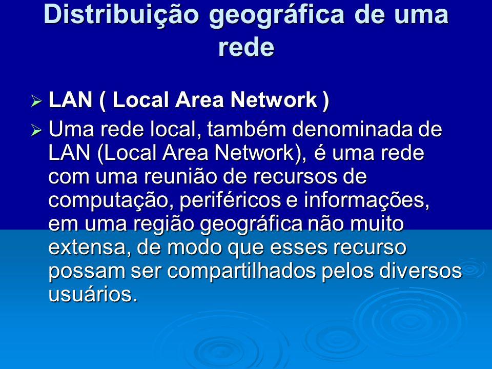 Distribuição geográfica de uma rede LAN ( Local Area Network ) LAN ( Local Area Network ) Uma rede local, também denominada de LAN (Local Area Network