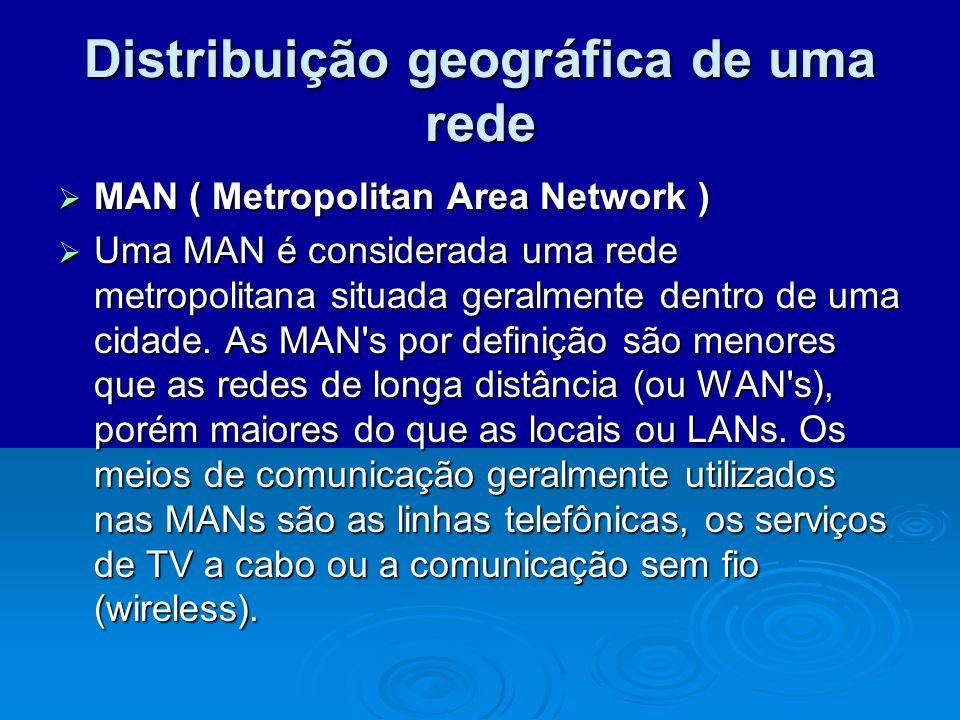 Distribuição geográfica de uma rede MAN ( Metropolitan Area Network ) MAN ( Metropolitan Area Network ) Uma MAN é considerada uma rede metropolitana s