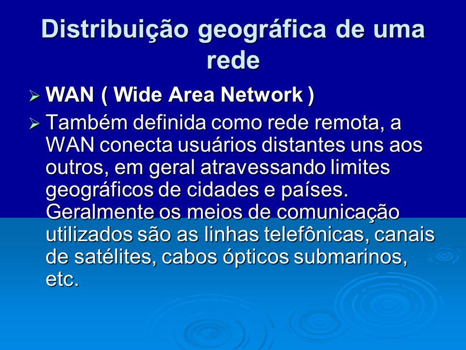 Distribuição geográfica de uma rede WAN ( Wide Area Network ) WAN ( Wide Area Network ) Também definida como rede remota, a WAN conecta usuários dista