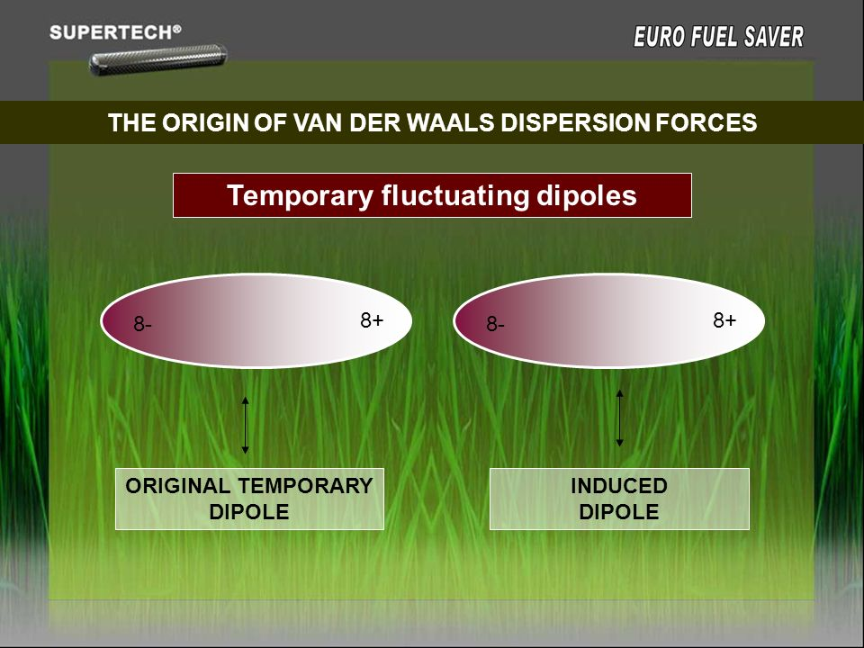 THE ORIGIN OF VAN DER WAALS DISPERSION FORCES Temporary fluctuating dipoles 8- 8+ 8- 8+ ORIGINAL TEMPORARY DIPOLE INDUCED DIPOLE