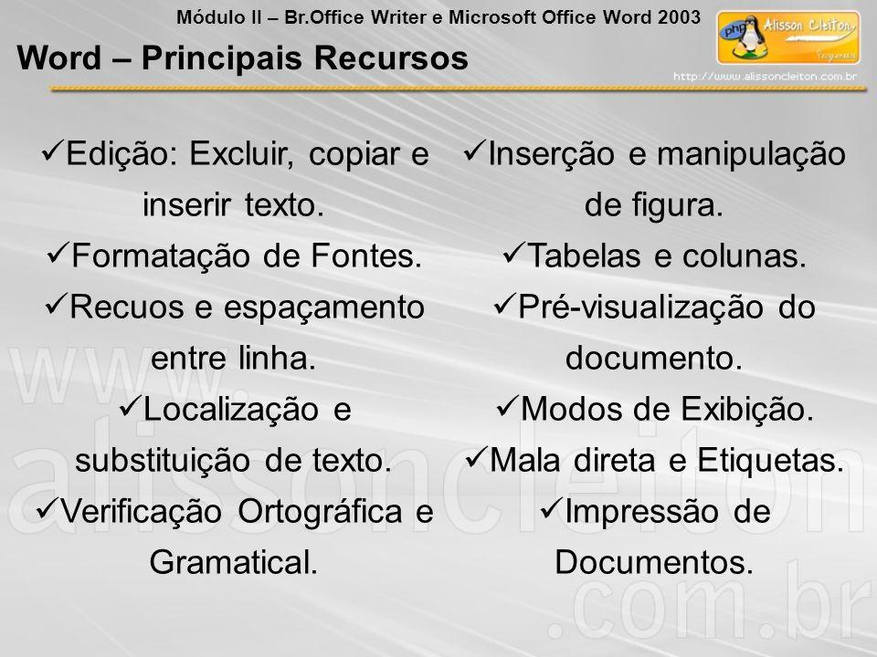 Edição: Excluir, copiar e inserir texto. Formatação de Fontes. Recuos e espaçamento entre linha. Localização e substituição de texto. Verificação Orto
