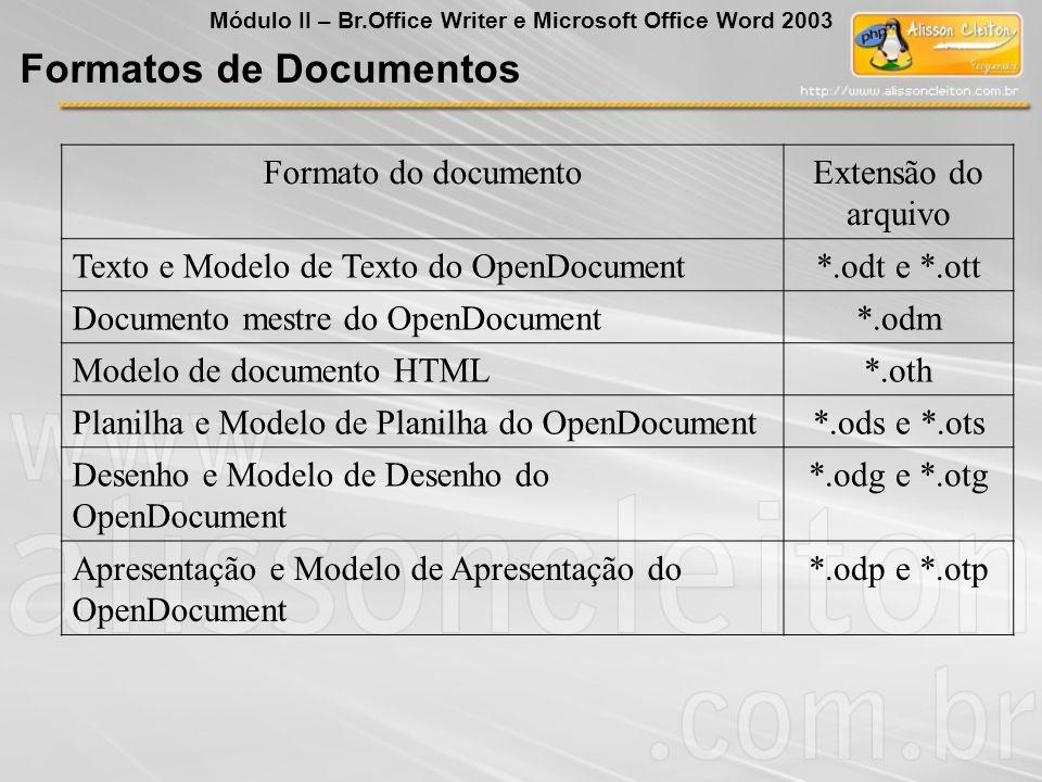 Formato do documentoExtensão do arquivo Texto e Modelo de Texto do OpenDocument*.odt e *.ott Documento mestre do OpenDocument*.odm Modelo de documento