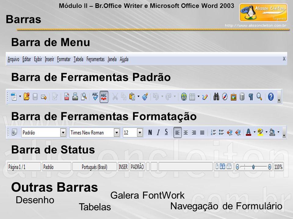 Outras Barras Desenho Tabelas Navegação de Formulário Galera FontWork Barras Módulo II – Br.Office Writer e Microsoft Office Word 2003 Barra de Menu B