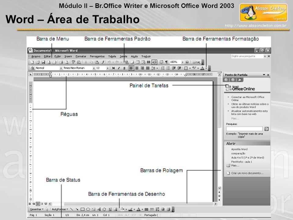 Word – Área de Trabalho Módulo II – Br.Office Writer e Microsoft Office Word 2003