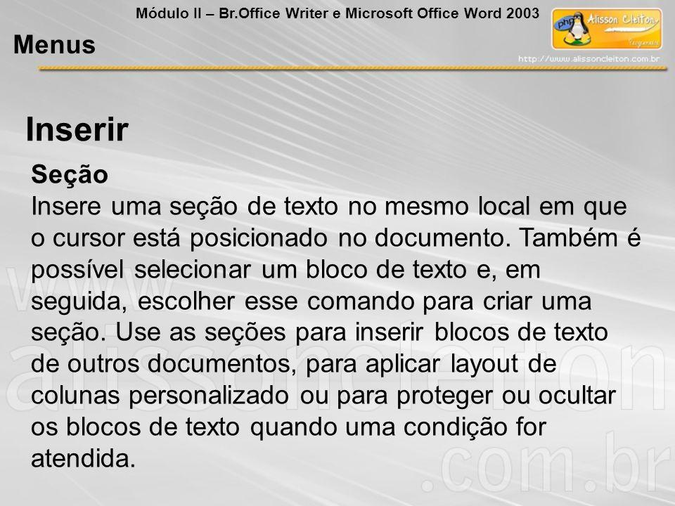 Seção Insere uma seção de texto no mesmo local em que o cursor está posicionado no documento. Também é possível selecionar um bloco de texto e, em seg