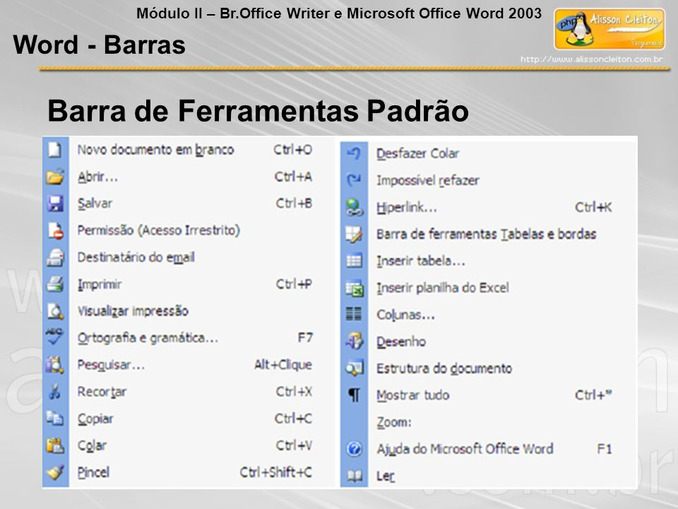 Barra de Ferramentas Padrão Word - Barras Módulo II – Br.Office Writer e Microsoft Office Word 2003