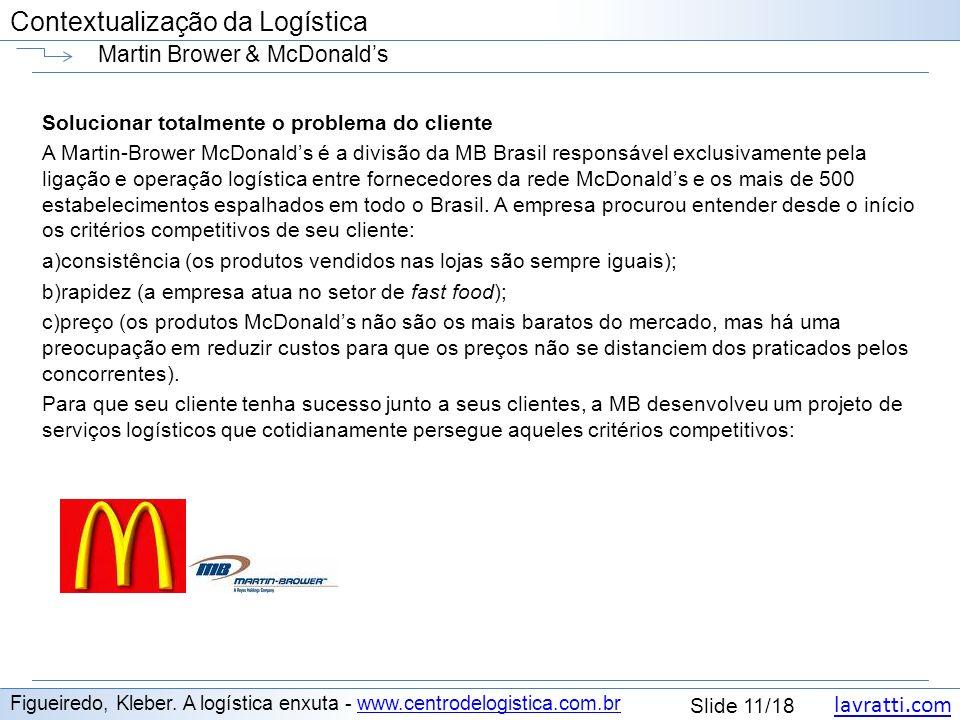lavratti.com Contextualização da Logística lavratti.com Slide 11/18 Contextualização da Logística Martin Brower & McDonalds Figueiredo, Kleber. A logí