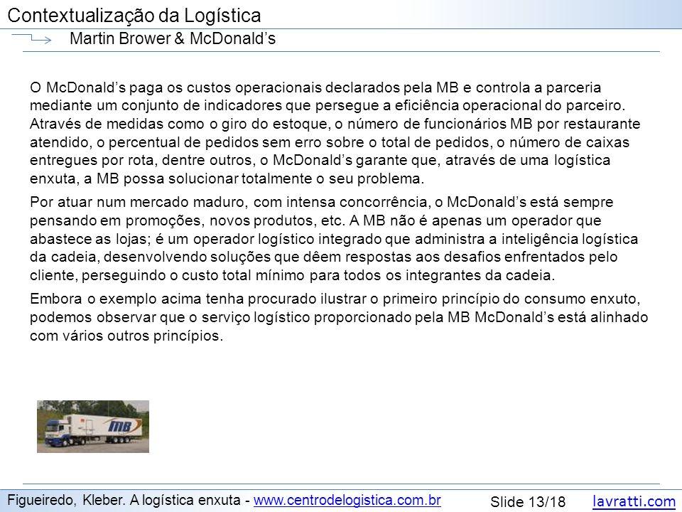 lavratti.com Contextualização da Logística lavratti.com Slide 13/18 Contextualização da Logística Martin Brower & McDonalds Figueiredo, Kleber. A logí