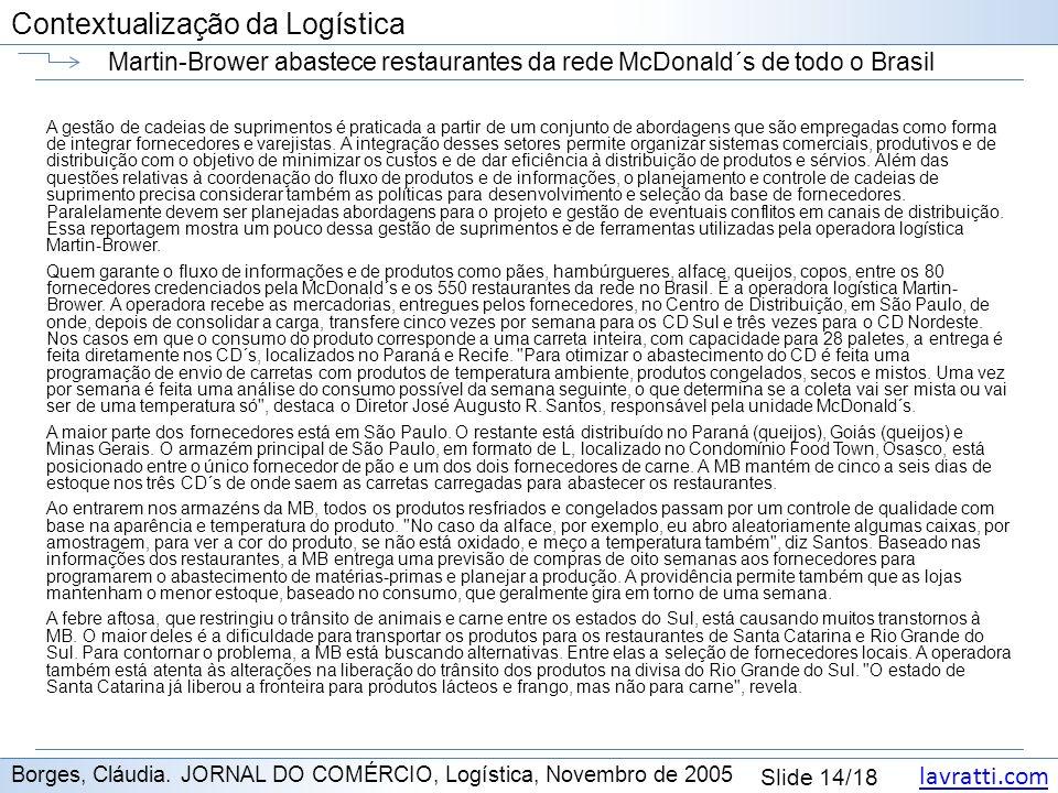 lavratti.com Contextualização da Logística lavratti.com Slide 14/18 Contextualização da Logística Martin-Brower abastece restaurantes da rede McDonald
