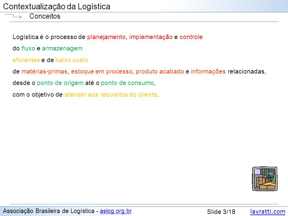 lavratti.com Contextualização da Logística lavratti.com Slide 3/18 Contextualização da Logística Conceitos Associação Brasileira de Logística - aslog.