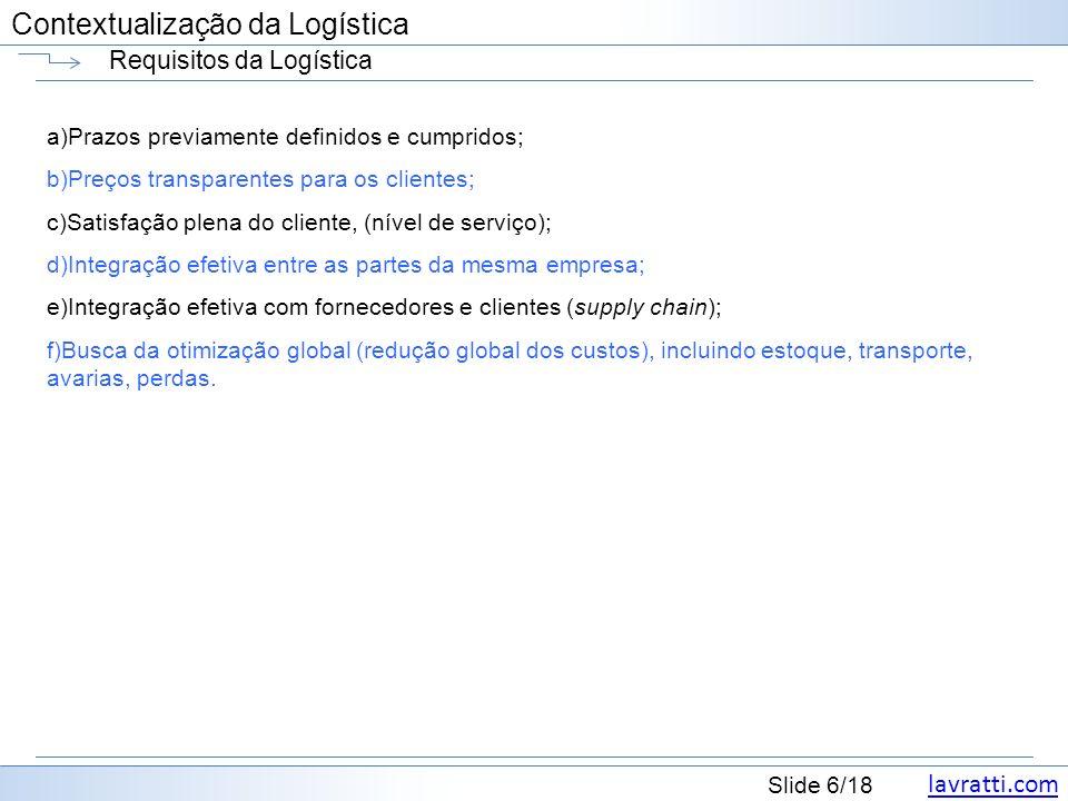 lavratti.com Contextualização da Logística lavratti.com Slide 6/18 Contextualização da Logística Requisitos da Logística a)Prazos previamente definido