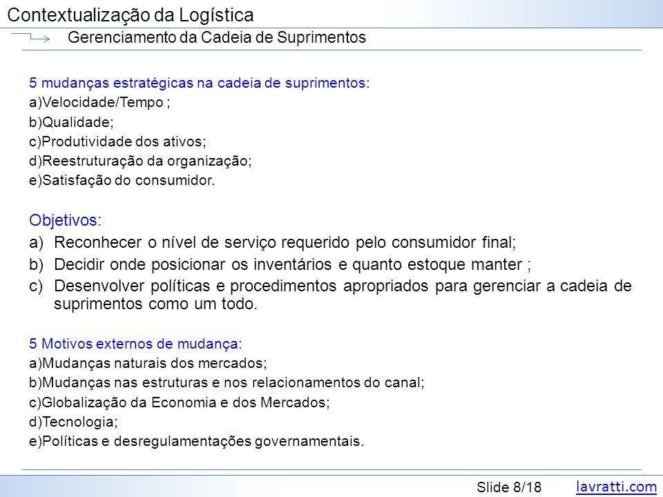 lavratti.com Contextualização da Logística lavratti.com Slide 8/18 Contextualização da Logística Gerenciamento da Cadeia de Suprimentos 5 mudanças est