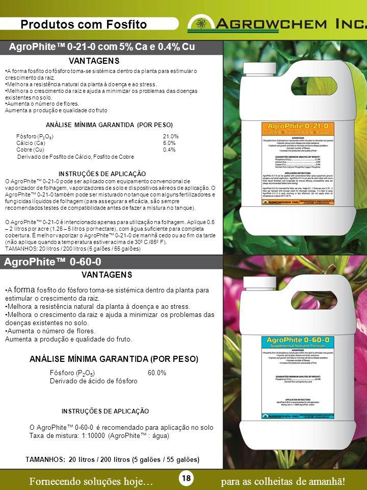 Page 18 Fornecendo soluções hoje…para as colheitas de amanhã! Produtos com Fosfito AgroPhite 0-21-0 com 5% Ca e 0.4% Cu VANTAGENS A forma fosfito do f