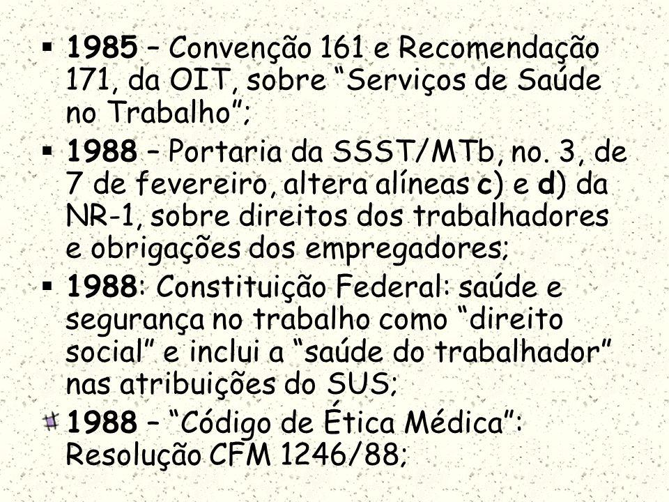 1985 – Convenção 161 e Recomendação 171, da OIT, sobre Serviços de Saúde no Trabalho; 1988 – Portaria da SSST/MTb, no. 3, de 7 de fevereiro, altera al