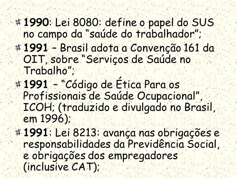 1990: Lei 8080: define o papel do SUS no campo da saúde do trabalhador; 1991 – Brasil adota a Convenção 161 da OIT, sobre Serviços de Saúde no Trabalh