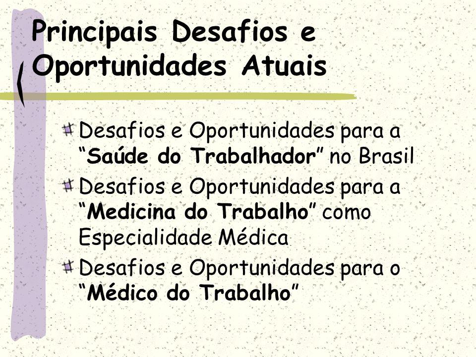 Desafios e Oportunidades para aSaúde do Trabalhador no Brasil Desafios e Oportunidades para aMedicina do Trabalho como Especialidade Médica Desafios e