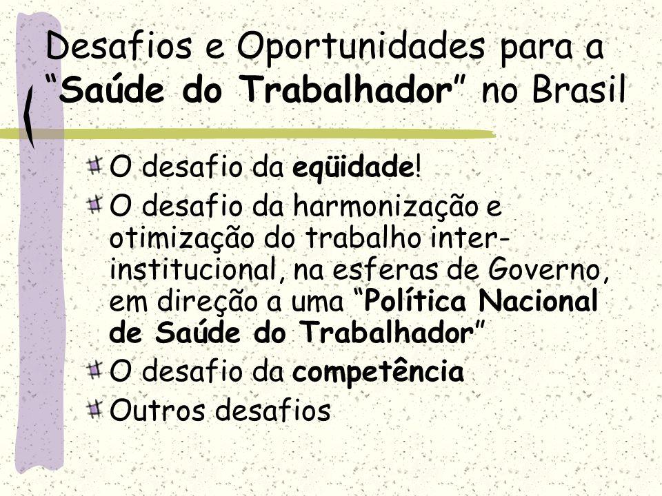 Desafios e Oportunidades para aSaúde do Trabalhador no Brasil O desafio da eqüidade! O desafio da harmonização e otimização do trabalho inter- institu