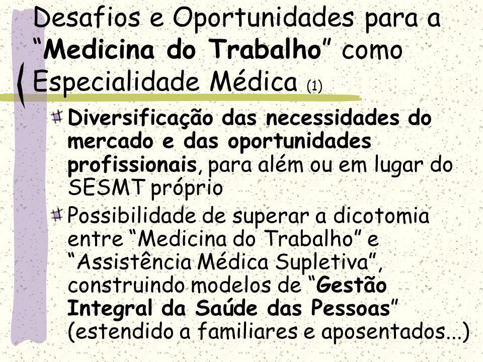 Desafios e Oportunidades para aMedicina do Trabalho como Especialidade Médica (1) Diversificação das necessidades do mercado e das oportunidades profi