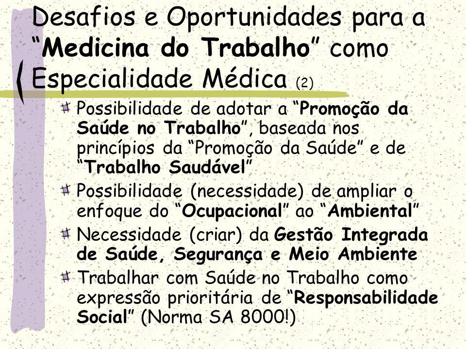 Desafios e Oportunidades para aMedicina do Trabalho como Especialidade Médica (2) Possibilidade de adotar a Promoção da Saúde no Trabalho, baseada nos
