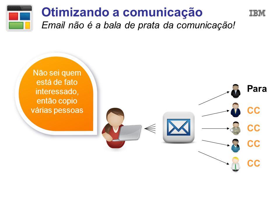 Otimizando a comunicação Email não é a bala de prata da comunicação! Não sei quem está de fato interessado, então copio várias pessoas Para CC
