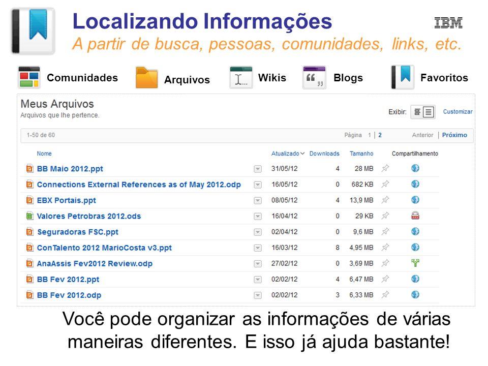 Localizando Informações A partir de busca, pessoas, comunidades, links, etc. Você pode organizar as informações de várias maneiras diferentes. E isso