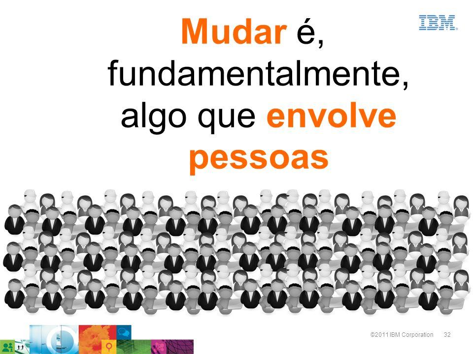 32©2011 IBM Corporation Mudar é, fundamentalmente, algo que envolve pessoas