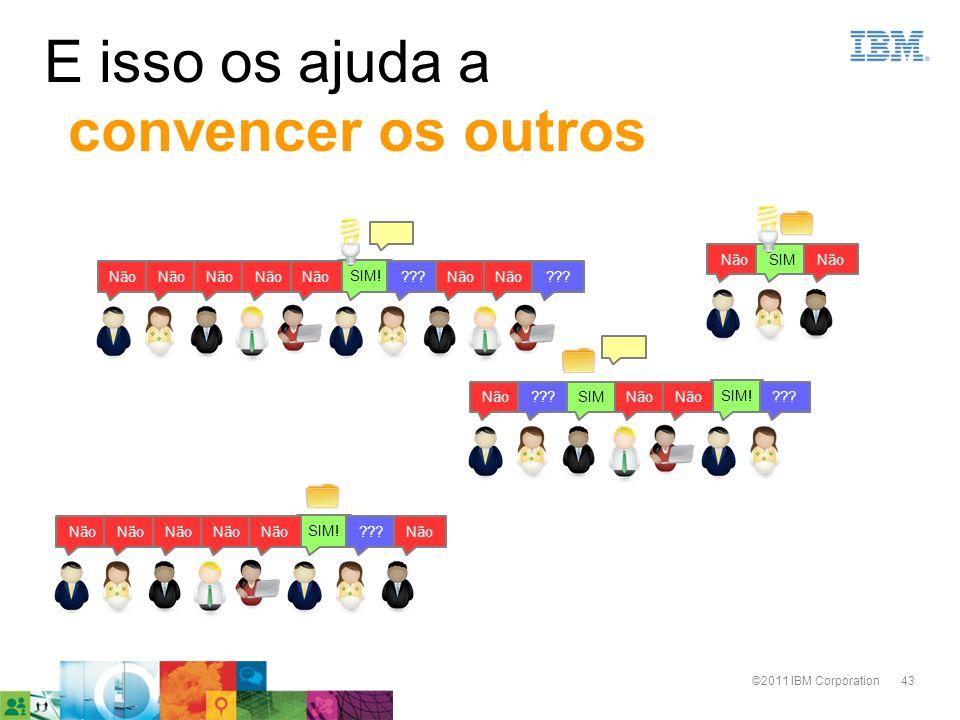 43©2011 IBM Corporation E isso os ajuda a convencer os outros SIM! ???Não ???Não SIM! ???Não???SIMNão SIM! ???Não SIMNão