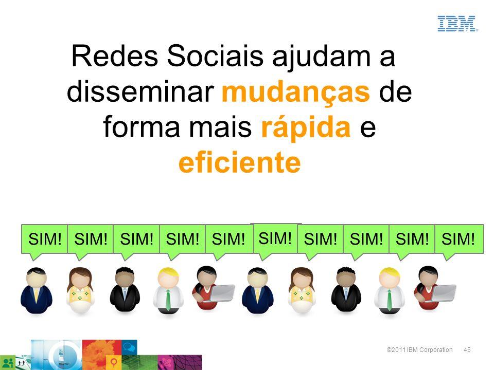 45©2011 IBM Corporation Redes Sociais ajudam a disseminar mudanças de forma mais rápida e eficiente SIM!