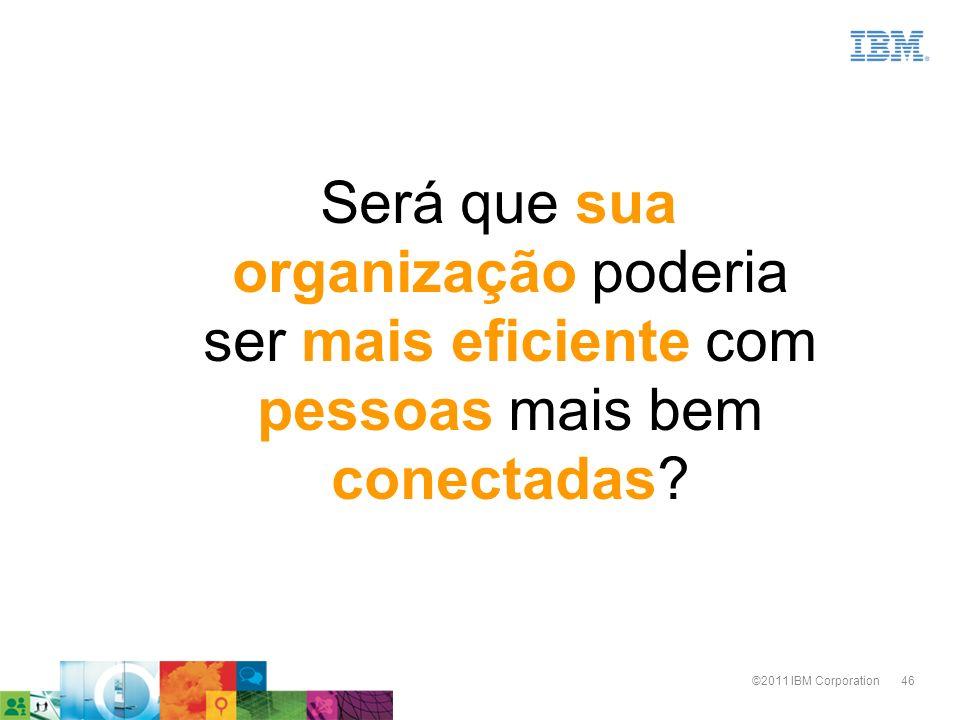 46©2011 IBM Corporation Será que sua organização poderia ser mais eficiente com pessoas mais bem conectadas?