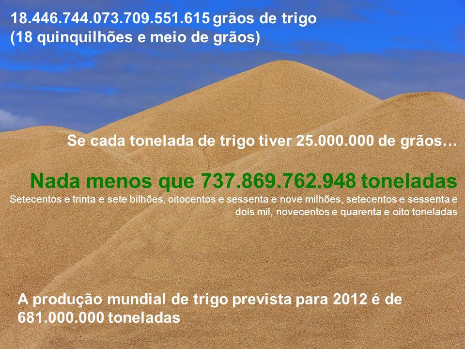 Se cada tonelada de trigo tiver 25.000.000 de grãos… Nada menos que 737.869.762.948 toneladas Setecentos e trinta e sete bilhões, oitocentos e sessent
