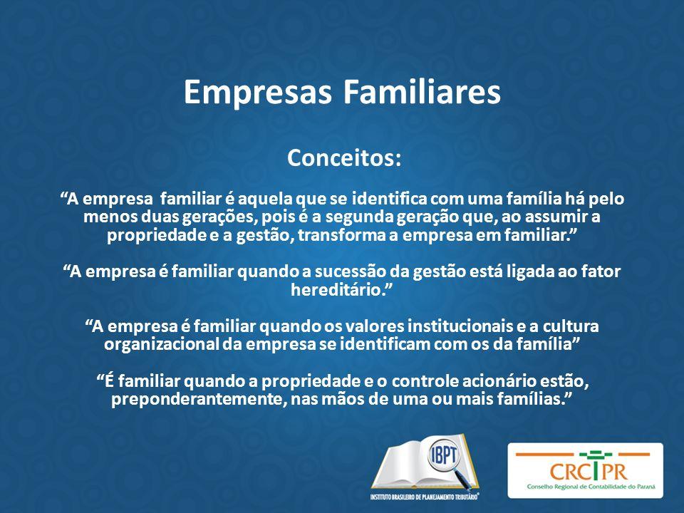 Empresas Familiares Conceitos: A empresa familiar é aquela que se identifica com uma família há pelo menos duas gerações, pois é a segunda geração que