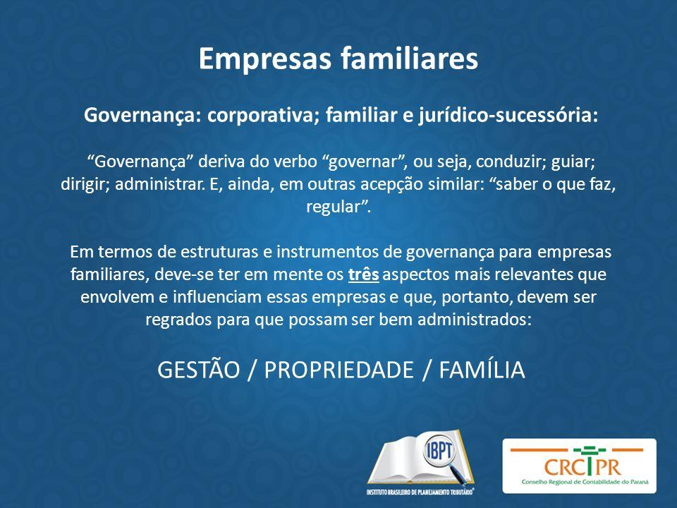 Empresas familiares Governança: corporativa; familiar e jurídico-sucessória: Governança deriva do verbo governar, ou seja, conduzir; guiar; dirigir; a