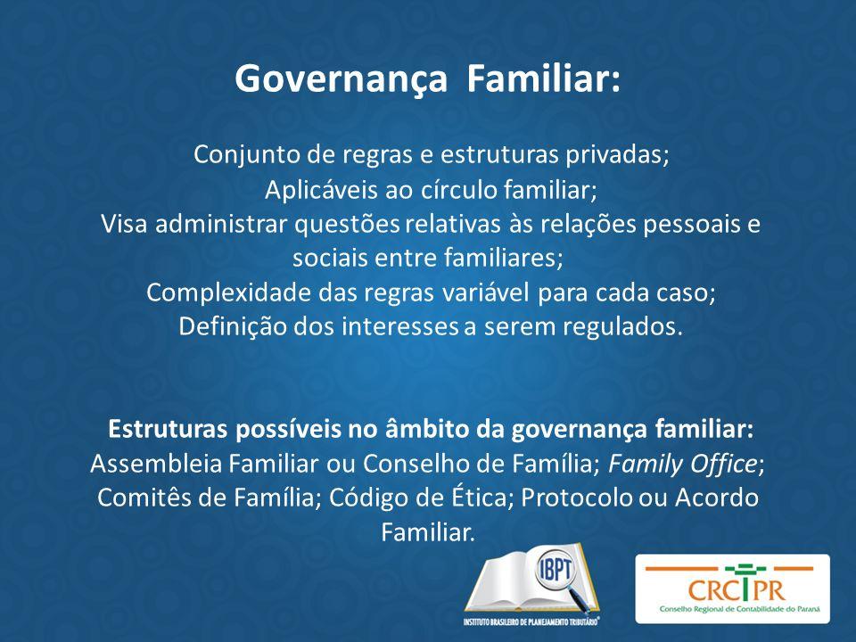 Governança Familiar: Conjunto de regras e estruturas privadas; Aplicáveis ao círculo familiar; Visa administrar questões relativas às relações pessoai