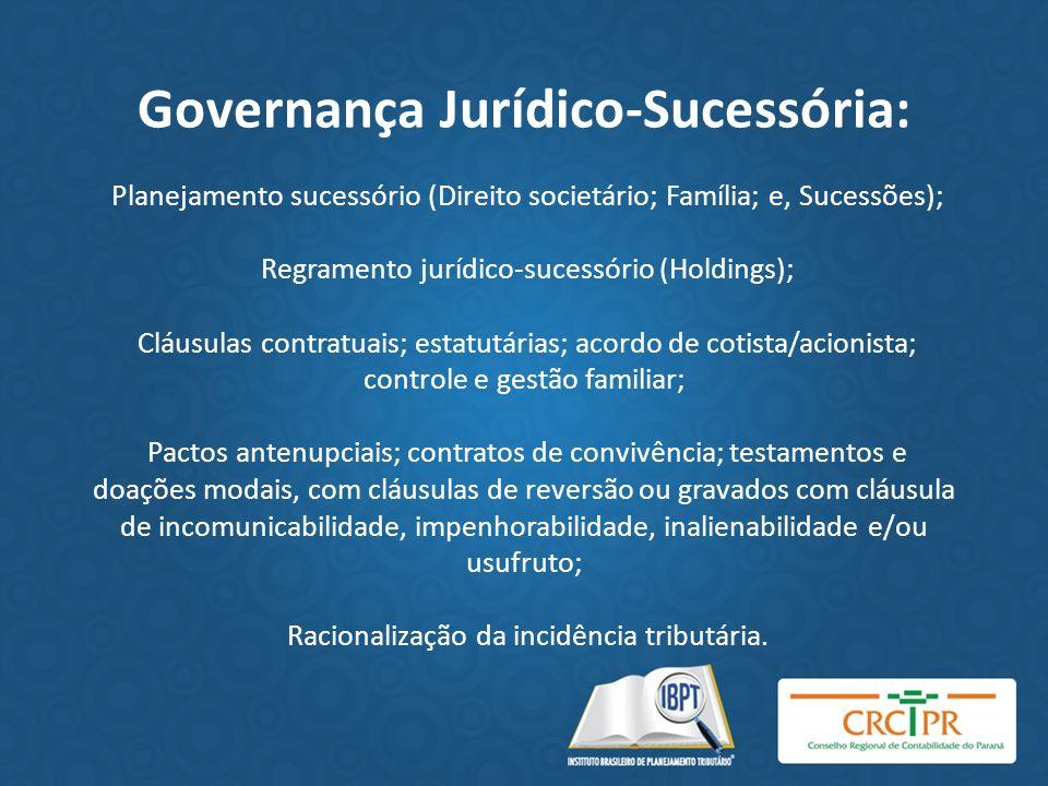 Governança Jurídico-Sucessória: Planejamento sucessório (Direito societário; Família; e, Sucessões); Regramento jurídico-sucessório (Holdings); Cláusu